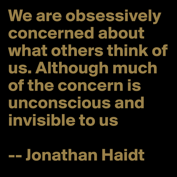 We are obsessively concerned about what others think of us